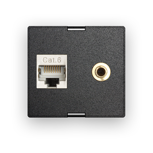Audio-Connector 3.5 mm with Cat.6-Data socket