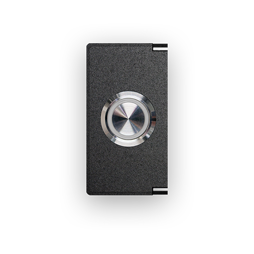 Stainless steel pushbutton with blue LED ring