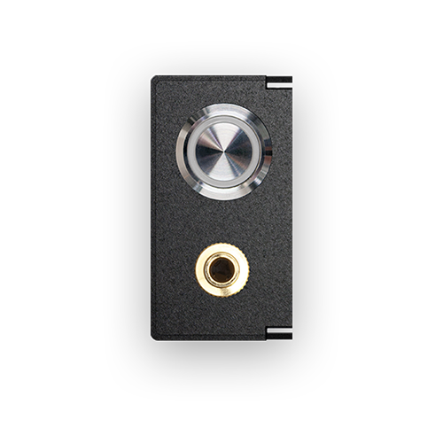 Audio connector and stainless steel pushbutton with blue LED ring