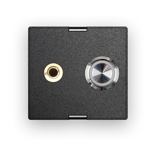 Audio connector and stainless steel pushbutton & blue LED ring